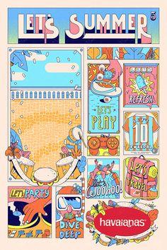 Estudio Pum Brings Stylish Tropical Look to Havaianas Illustrations Graphic Design Studios, Graphic Design Posters, Graphic Design Illustration, Digital Illustration, Poster Designs, Kaktus Illustration, Layout Design, Flyer Design, Crea Design