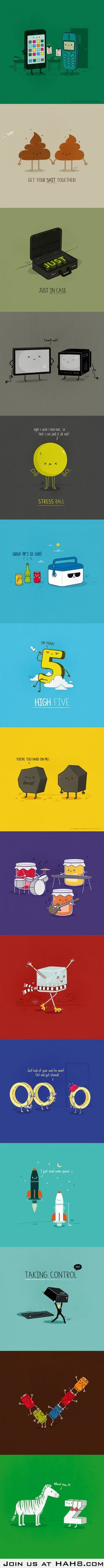 Cute Puns - Do you get them all?-this might be good in playing pictionary