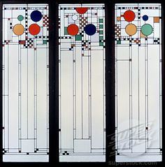Frank Lloyd Wright - Coonley Playhouse windows. My favorite FLW art glass. It represents balloons and confetti at a parade.