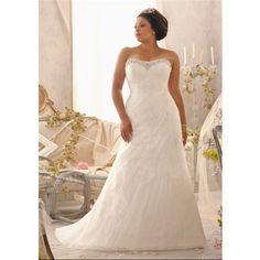 A Line Strapless Sweetheart Ruched Organza Lace Plus Size Wedding Dress Corset Back