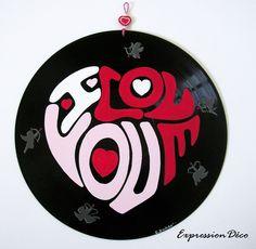 """Vinyle déco """"I Love You""""  pour la Saint Valentin 28 €"""