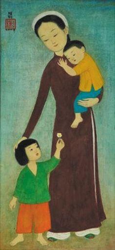 Mẹ và hai con - Mai Trung Thứ (lụa)