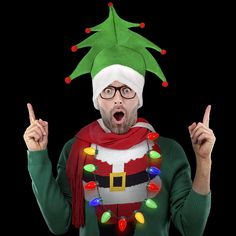 a059f97fd3a82 Amazon.com  Ugly Sweater Christmas Party Kit - Green Christmas Tree Holiday  Hat +