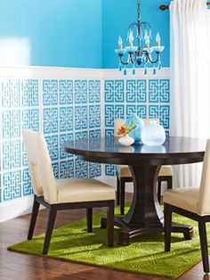 for bathroom walls...made by Acurio Latticeworks chinese-wainscoting-better-homes-garden