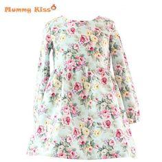 Barato 2 12Y outono / inverno bebés meninas vestidos Floral imprimir manga comprida de algodão crianças vestidos para meninas menina da criança do Vintage roupas, Compro Qualidade Vestidos diretamente de fornecedores da China:                                                                                      &nbsp