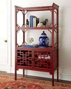 Red laquered bookcase with Asian influence and a comtemporary twist. #AsianHomeDecor