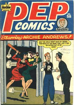 """Pep Comics <a class=""""pintag searchlink"""" data-query=""""%2358"""" data-type=""""hashtag"""" href=""""/search/?q=%2358&rs=hashtag"""" rel=""""nofollow"""" title=""""#58 search Pinterest"""">#58</a>, September 1946, cover by Al Fagaly"""