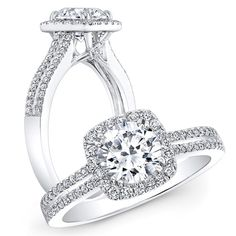 18k White Gold Split Shank Diamond Engagement Ring with a Square Halo