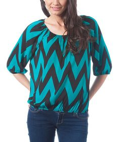 Look what I found on #zulily! Jade & Black Bold Zig Zag Scoop Neck Top by Magic Fit #zulilyfinds