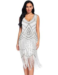 Flapper Girl Women's Vintage 1920s Sequin Beaded Tassels Hem Flapper Dress (S, Beige)