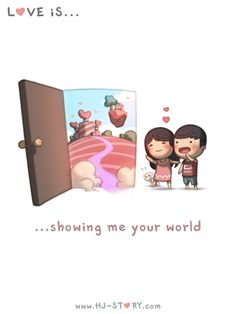 HJ-Story :: Love is. Showing me your world - image 1 Hj Story, Love Is Sweet, What Is Love, My Love, Cute Love Stories, Love Story, You Are My World, Cute Love Cartoons, Couple Cartoon