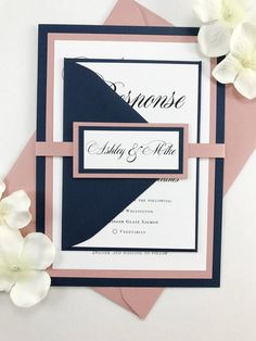 Navy Blue and Dusty Rose Pink Wedding Invites, Wedding Invitation Set in Dark Blue and Blush Pink Mauve, Full Bundle with Elegant Belly Band - Wedding Colors Navy Wedding Colors, Blue And Blush Wedding, Dusty Pink Weddings, Dusty Rose Wedding, Wedding Flowers, Navy Weddings, Navy Wedding Invitations, Pink Invitations, Custom Invitations
