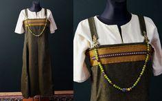Haithabu Wikinger Trägerrock mit Webband / Haithabu viking apron dress with ribbon