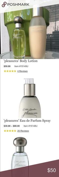 pleasures' Eau de Parfum Spray & body lotion A delightful sheer floral fragrance created from lilies, peonies, jasmine and karo-karounde blossoms, all tingling with the rare essence of baie rose to reflect a modern woman's desire to experience life's little pleasures every day. Estee Lauder Other