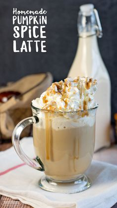 This Homemade Pumpkin Spice Latte Recipe is amazing! Made with milk, pumpkin, sugar and spices. Tastes as good as any store-bought version! Easy Drink Recipes, Yummy Drinks, Fall Recipes, Smoothie Recipes, Holiday Recipes, Delicious Desserts, Dessert Recipes, Smoothies, Tea Drinks