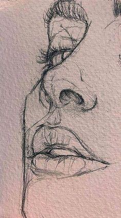 Cool Art Drawings, Pencil Art Drawings, Art Drawings Sketches, Easy Drawings, Drawing Faces, Drawing Drawing, Faces To Draw, Back Drawing, Realistic Drawings