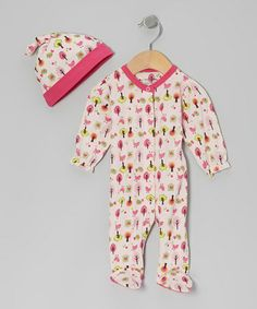 Take a look at this Pink Bird Tree Organic Single-Knot Beanie & Footie by My O Baby on #zulily today!