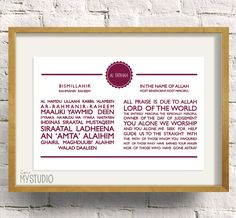 "Surah Al Fatihah Typography, Transliteration and Translation. Printable Islamic Modern Wall Art Print 8x12"". In my studio by Iva Izman. Islamic Muslim Wall Art Print Frame"