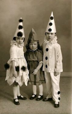 vintage photo children in clown costumes