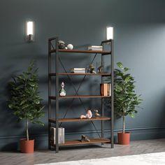 Hanging Bookshelves, Pine Bookcase, Walnut Bookcase, Floating Bookshelves, 5 Shelf Bookcase, Wooden Bookcase, Wall Shelves, Shelving, Recycled Furniture