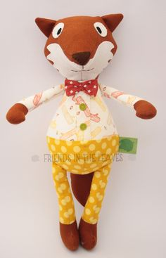 Mr John Lemon Fox by Friends in the Leaves. A perfect soft toy for a baby or child. Would look amazing in a woodland themed nursery! Fabric Toys, Felt Fabric, Themed Nursery, Nursery Themes, Raggy Dolls, John Lemon, Fox Toys, Fabric Animals, Woodland Creatures