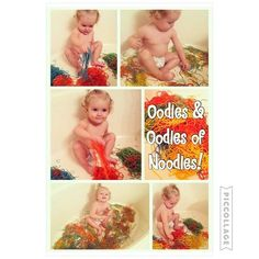 Bree LOVED playing in all these noodles! {In separate bags add cooked noodles, little bit of olive oil, & food coloring} #toddlerfun #bathtubideas #toddleractivities #toddleractivity #bathtubfun #noodlefun