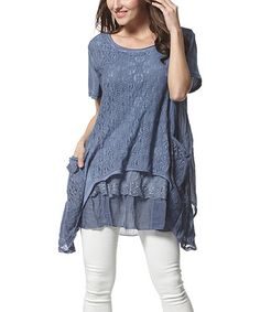 Another great find on #zulily! Blue Lace Sidetail Tunic by Simply Couture #zulilyfinds
