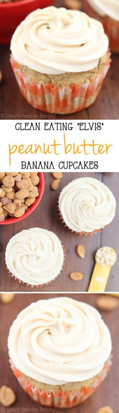 The BEST banana cupcakes I've ever made & topped with protein-packed Greek yogurt peanut butter frosting! Just 150 calories & 100% clean-eating!