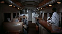The wonderful train car set in the film White Christmas...