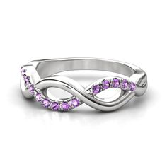 Sterling Silver Ring with Amethyst | Infinity Twist Band