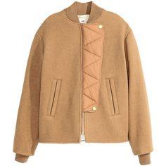 H&M Wool jacket (1,175 CNY) ❤ liked on Polyvore featuring outerwear, jackets, beige, beige jacket, wool zip jacket, stand collar jacket, lined jacket and h&m