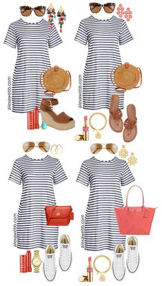 Plus Size Stripe T-Shirt Dress Outfits - How to Style A Plus Size Striped T-Shirt Dress with Sneakers and Sandals. Preppy and Boho Styles - Alexa Webb Source by alexandrawebb outfits Comfy Travel Outfit, Travel Outfit Summer, Mode Outfits, Dress Outfits, Casual Outfits, Dressy Dresses, Lace Dresses, Curvy Outfits, Formal Dress