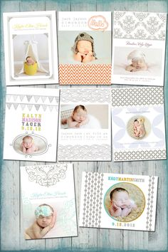 Millers Letterpress - Baby Birth Announcement - PSD Template Set. $40.00, via Etsy.