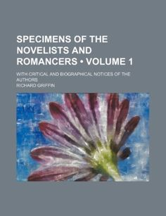 Specimens of the Novelists and Romancers: Criticisms and Biographies, sale helps charity