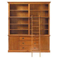 Massief houten boekenkast met ladder B 193 cm Voyage