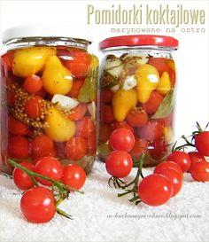 pomidorki koktajlowe marynowane na ostro Preserves, Love Food, Pickles, Mango, Homemade, Canning, Fruit, Vegetables, Kitchen