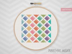Stitch this colorful, geometric diamonds with a wide selection of bright colors. This is an easy counted cross stitch pattern suitable for