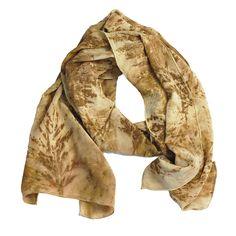 "Leaf Print Silk Scarf 27, matte crepe de chine, 13"" x 70"""