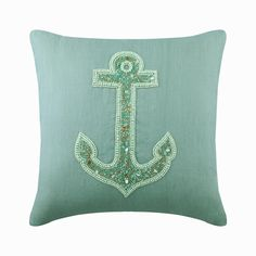 "Designer Ocean Theme Pillow Cover 16""x16"", Dull Blue Cotton Linen Decorative Toss Pillow Cover Beaded Cushion Beach Style - Lost Anchor Blue Pillow Covers, Blue Throw Pillows, Linen Pillows, Toss Pillows, Decorative Throw Pillows, Cushions, Blue Bedroom Decor, Blue Home Decor, Ocean Themes"