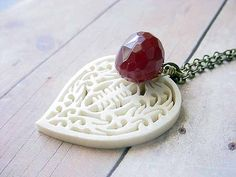 Carved Bone Heart Pendant With Faceted Red by MySelvagedLife, $22.00