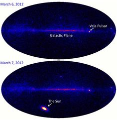 These two panels illustrate the intensity of that solar flare in all-sky images recorded by the orbiting Fermi Gamma-ray Space Telescope. On March 6, as on most days, the Sun was almost invisible to Fermi's imaging detectors. But during the energetic X-class flare, it became nearly 100 times brighter than even the Vela Pulsar at gamma-ray energies. Now faded in Fermi's view, the Sun will likely shine again in the gamma-ray sky as the solar activity cycle approaches its maximum.
