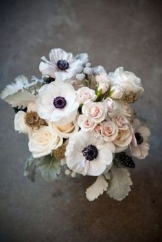 Arrangements Beautiful bouquet of anenomes, roses and dusty miller via Wedding Wire. Florals by Sullivan Owen Floral & Event Design.Beautiful bouquet of anenomes, roses and dusty miller via Wedding Wire. Florals by Sullivan Owen Floral & Event Design. Anemone Bouquet, Anemone Flower, Anemones, Boquet, Bouquet Flowers, Poppy Bouquet, Ranunculus Flowers, Peony Rose, Cactus Flower