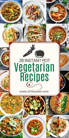 These vegetarian instant pot recipes are great for quick and easy dinners! These instant pot vegetarian recipes are a great way to make an easy dinner without using meat. They're great instant pot beginners. Vegetarian Recipes For One, Vegetable Recipes For Kids, Clean Eating Vegetarian, Vegetarian Breakfast Recipes, Veggie Recipes, Vegetarian Food, Instapot Vegetarian Recipes, Vegetarian Dinners, Chicken Recipes