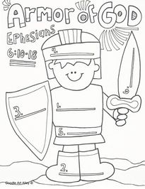 Armor of God Coloring pages and printable by Religious Doodles. A Doodle Art Alley website.