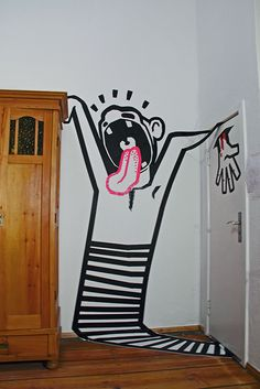 "3d tape art graffiti installation - ""SCHREI"""