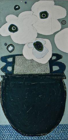 "Le Marais Poppies by Karen Tusinski, 48x24"", oil"