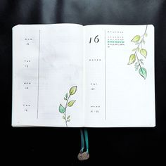 Bullet journal weekly layout, plant drawings. | @heythereseven
