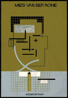 Architects' faces are made up of their buildings in Federico Babina's…