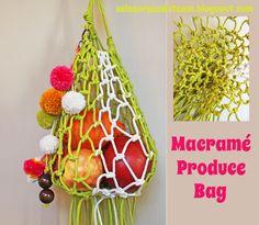 ReFab Diaries: DIY: Macrame Produce Bag made from tee shirt fabric.. cool....