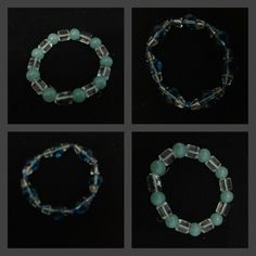 Beautiful green-transparent stretchable bracelet with blue-transparent bead bracelet. have had them for 9 years :)